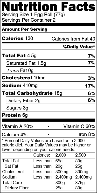 Nutrition Facts Pork Egg Rolls