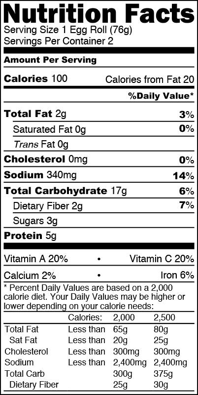 Nutrition Facts Vegetable Egg Rolls