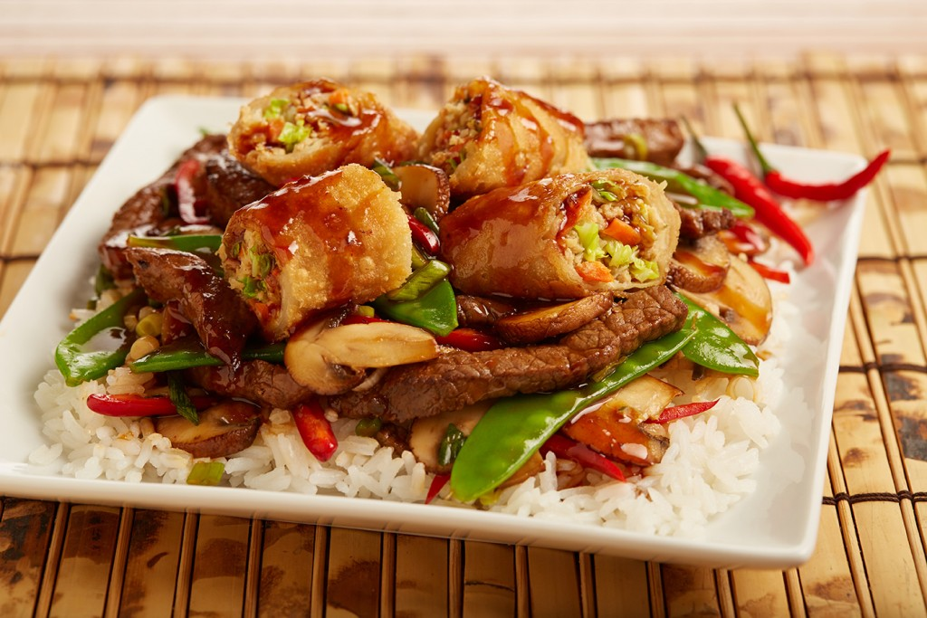 Asian BBQ Beef and Egg Roll Stir Fry