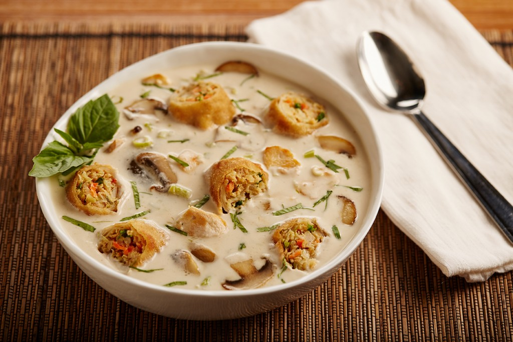 Thai Coconut Chicken Soup with Egg Rolls - Tom Kha Gail