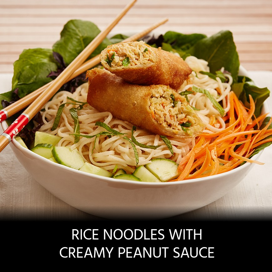 Egg Rolls and Rice Noodles with Creamy Peanut Sauce