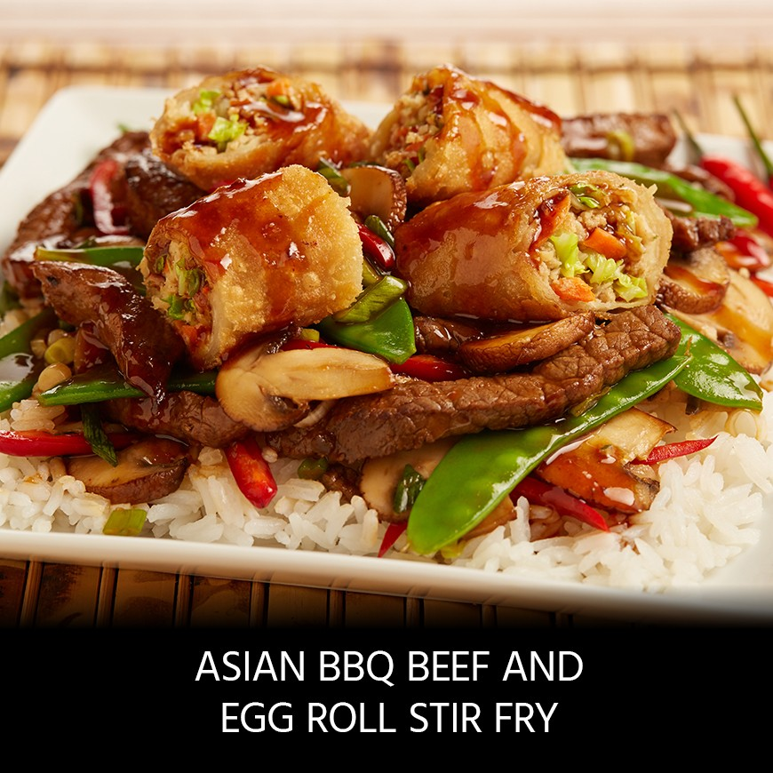 Asian BBQ Beef and Egg Roll Stir-Fry