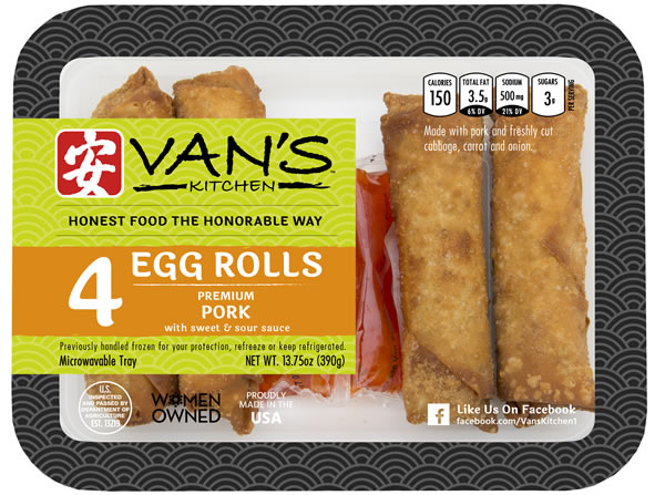 Van's Kitchen Four Pack Premium Pork Egg Rolls with Sauce