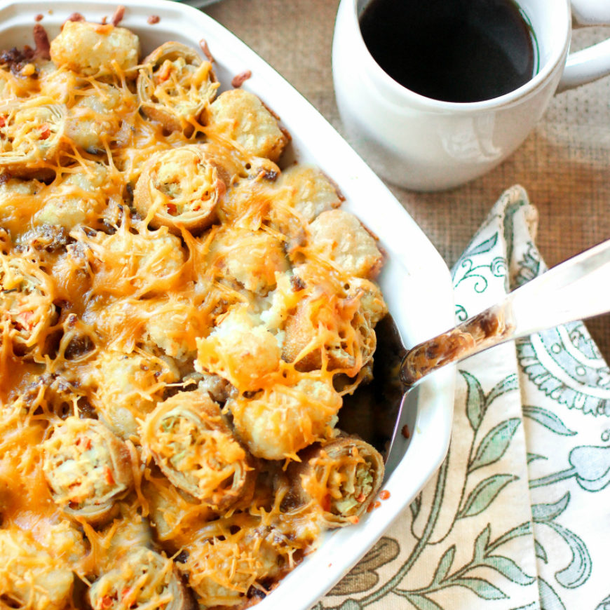 Cheesy Egg Roll & Tater Tot Breakfast Bake