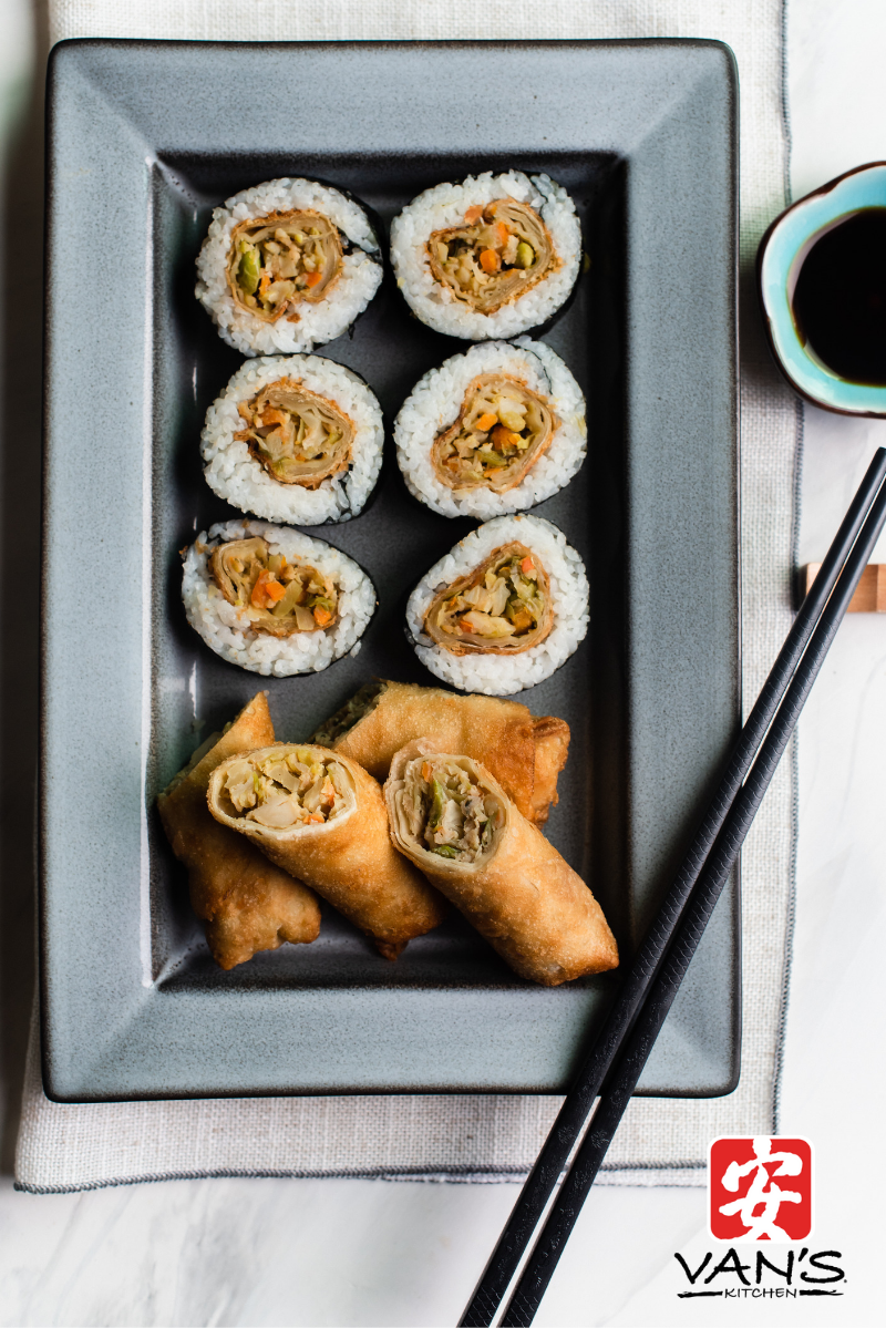 Egg Roll Sushi Plated